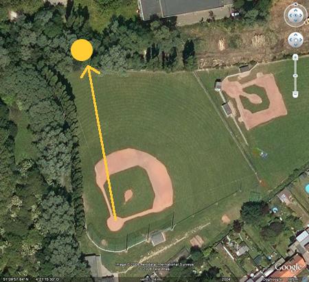 Lokatie van de wedstrijdbal 1e home run Qualifier European Championship Baseball 2008
