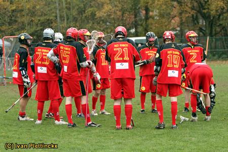 Wedstrijdbal + hand-off Belgian Cup Final 2011 Lacrosse - Red Rhinos vs Buggenhout Brewers